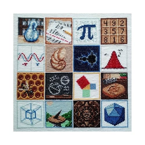 A cross stitch math sampler