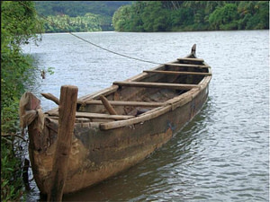 A small boat on a river