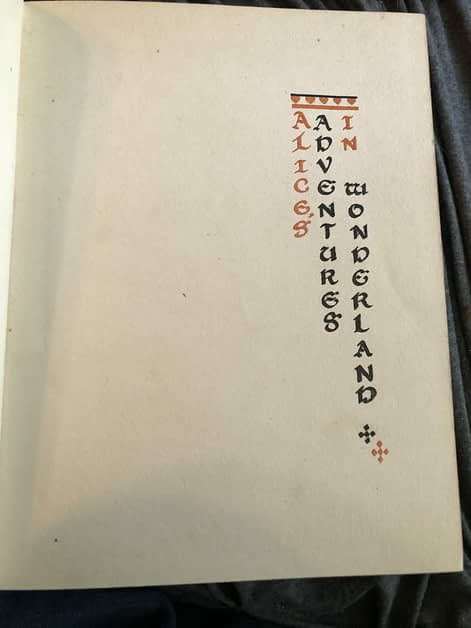 Title page for Alice in Wonderland