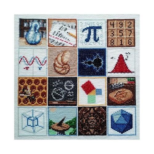 A cross stitch math sampler